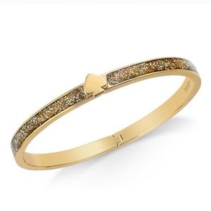 KATE SPADE • Gold Glitter Hinged Bangle Bracelet